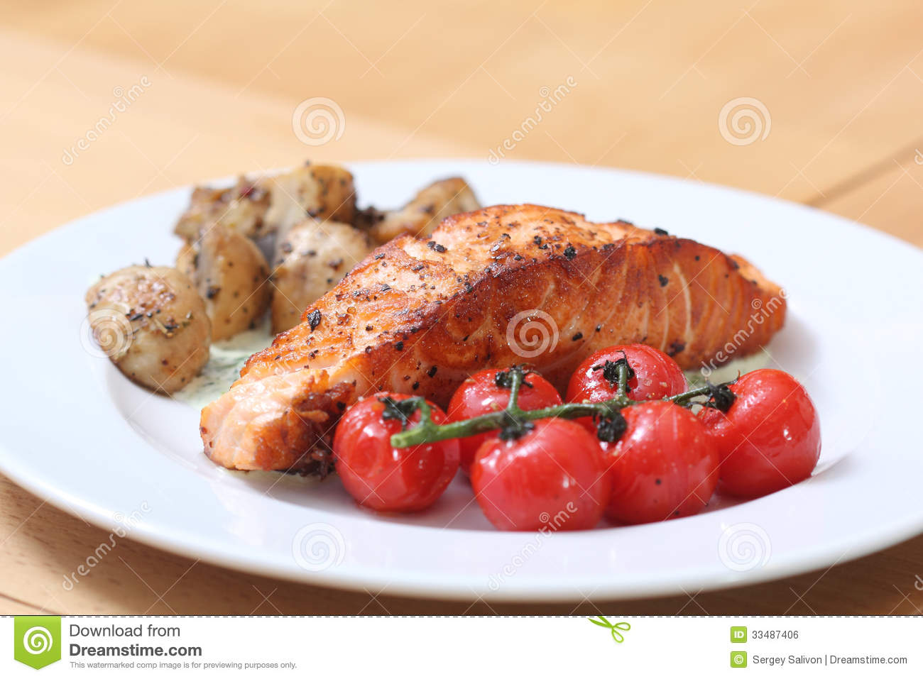 Grilled Fish Steak On The Plate Royalty Free Stock Image - Image ...