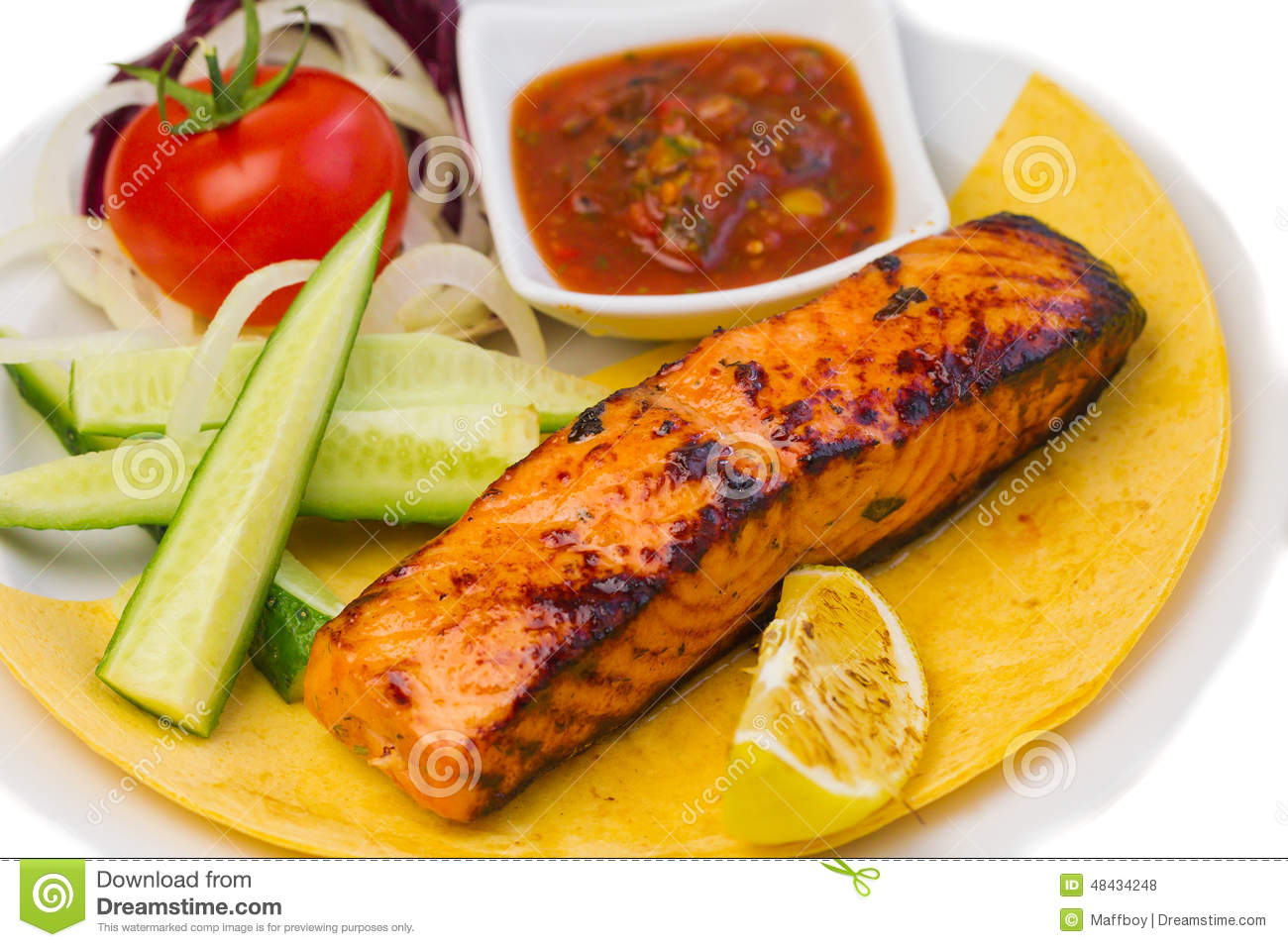 Grilled Fish Steak On The Plate Stock Photo - Image: 48434248