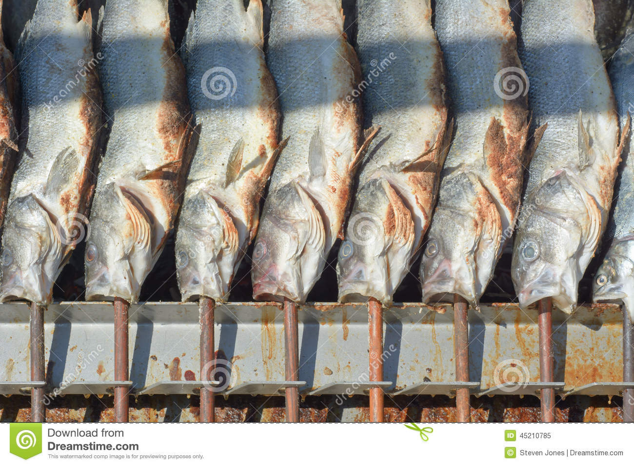 Grilled fish on a stick stock photo image 45210785 for Fish on a stick