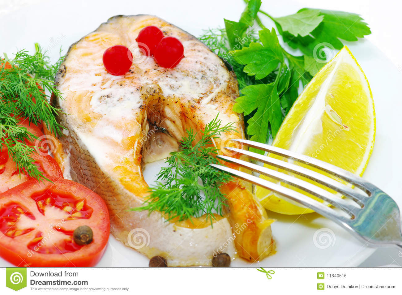 Grilled fish with vegetables royalty free stock image for Fish with vegetables