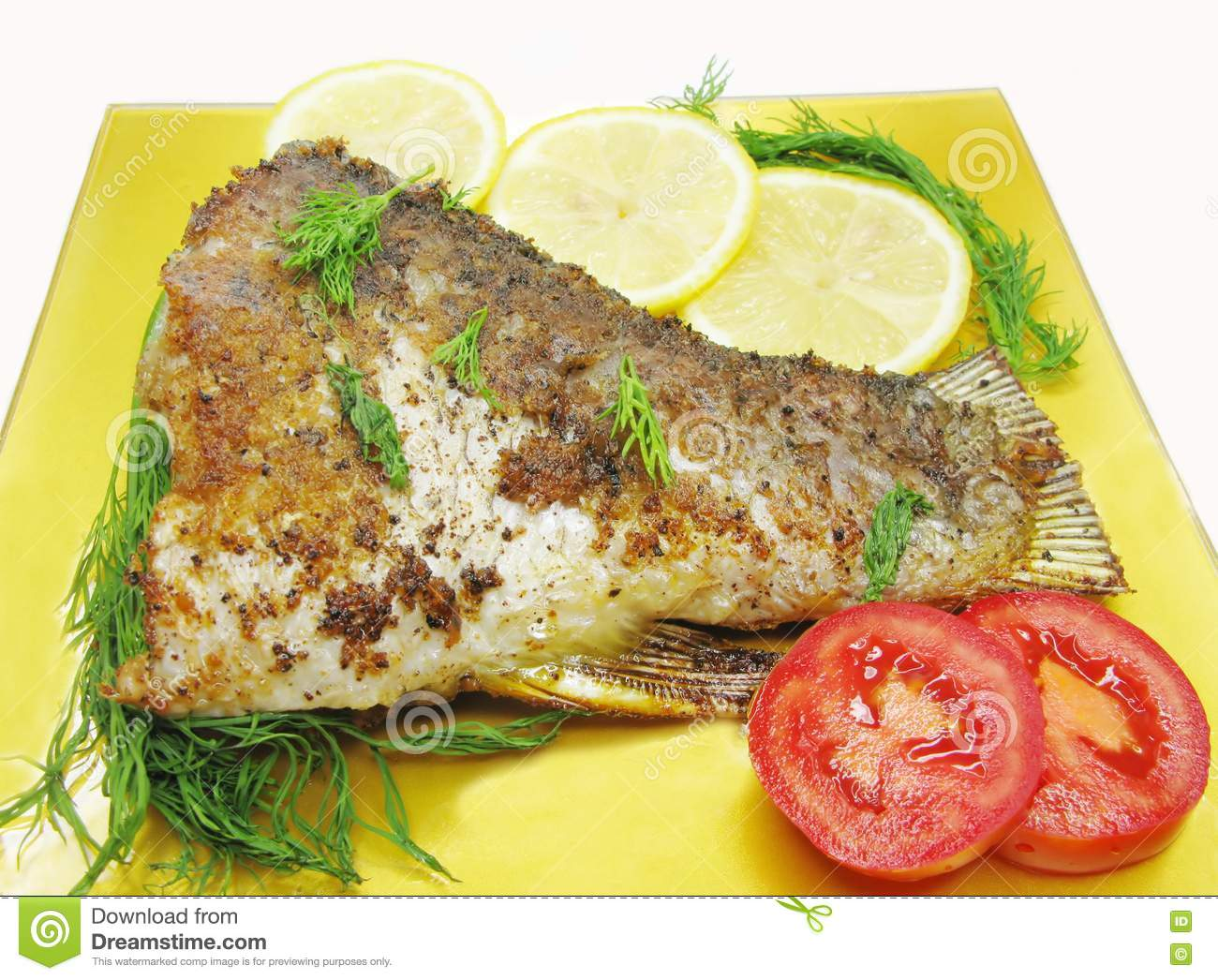 Grilled fish with vegetables stock images image 16392214 for Fish with vegetables