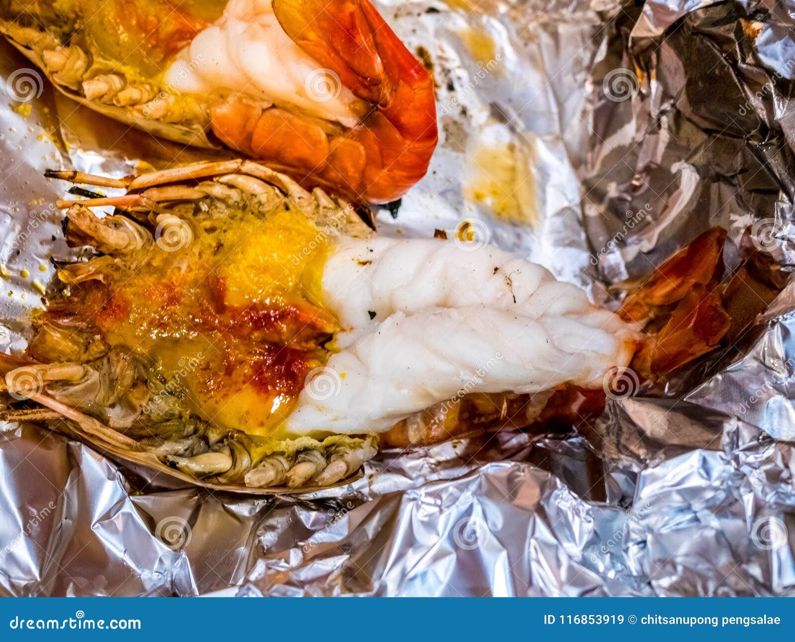 Grilled Giant River Prawn Or Big Shrimp On Aluminium Foil