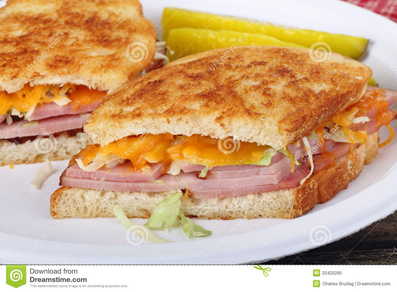 Grilled Ham, Cheese, And Pickle Sandwiches Recipe — Dishmaps