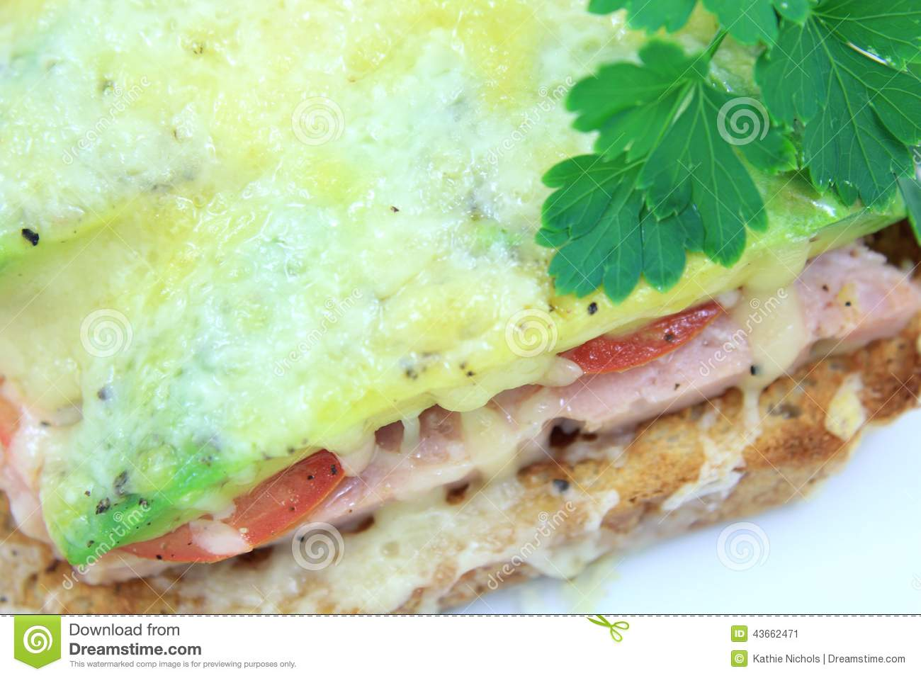 Grilled Ham Cheese Tomato And Avocado On Toast 4 Stock Photo - Image ...