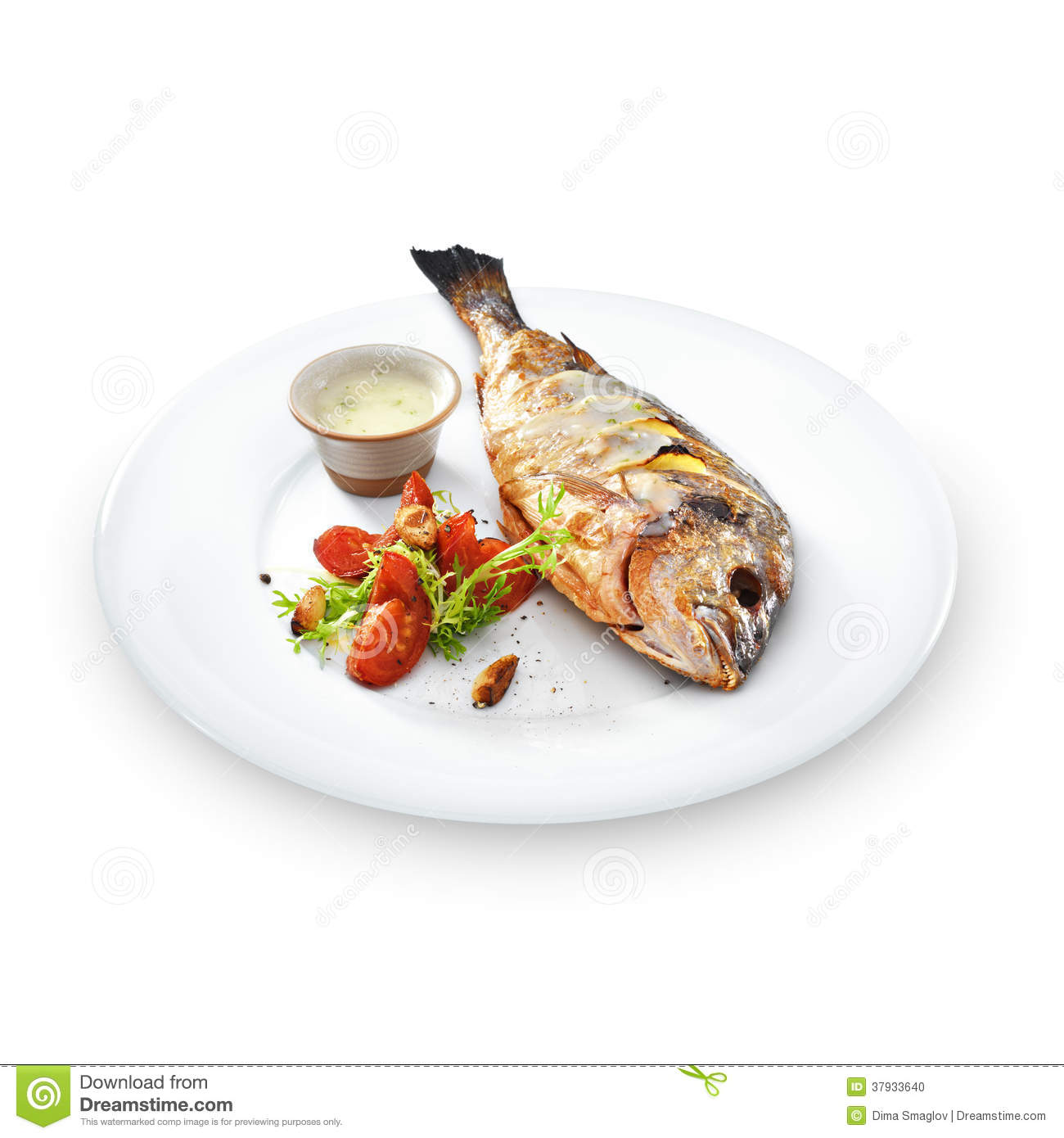 Grilled spicy dorado stock image 57226081 for Healthy white fish