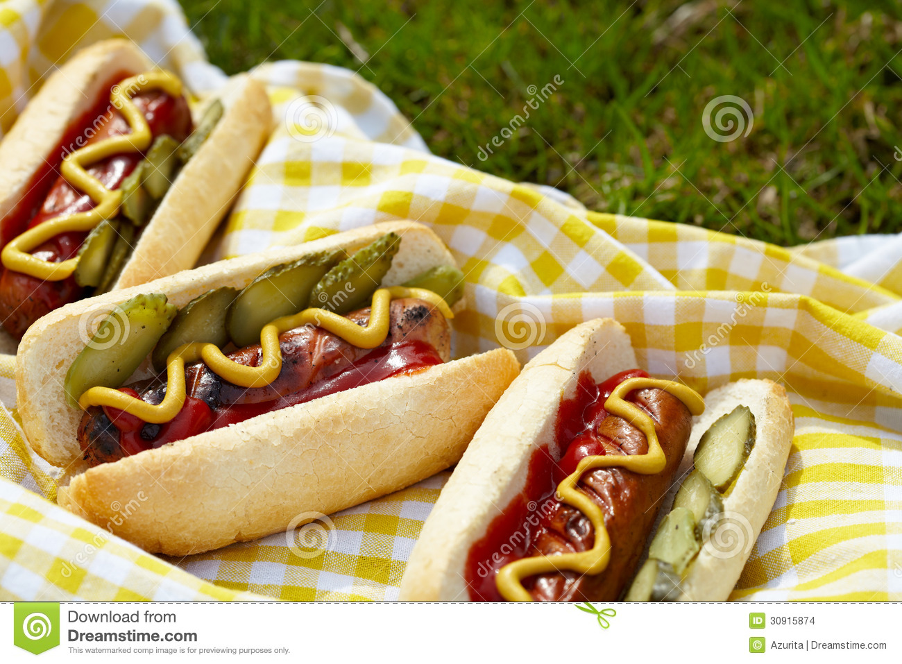 Hot Dogs With Mustard Relish And Ketchup