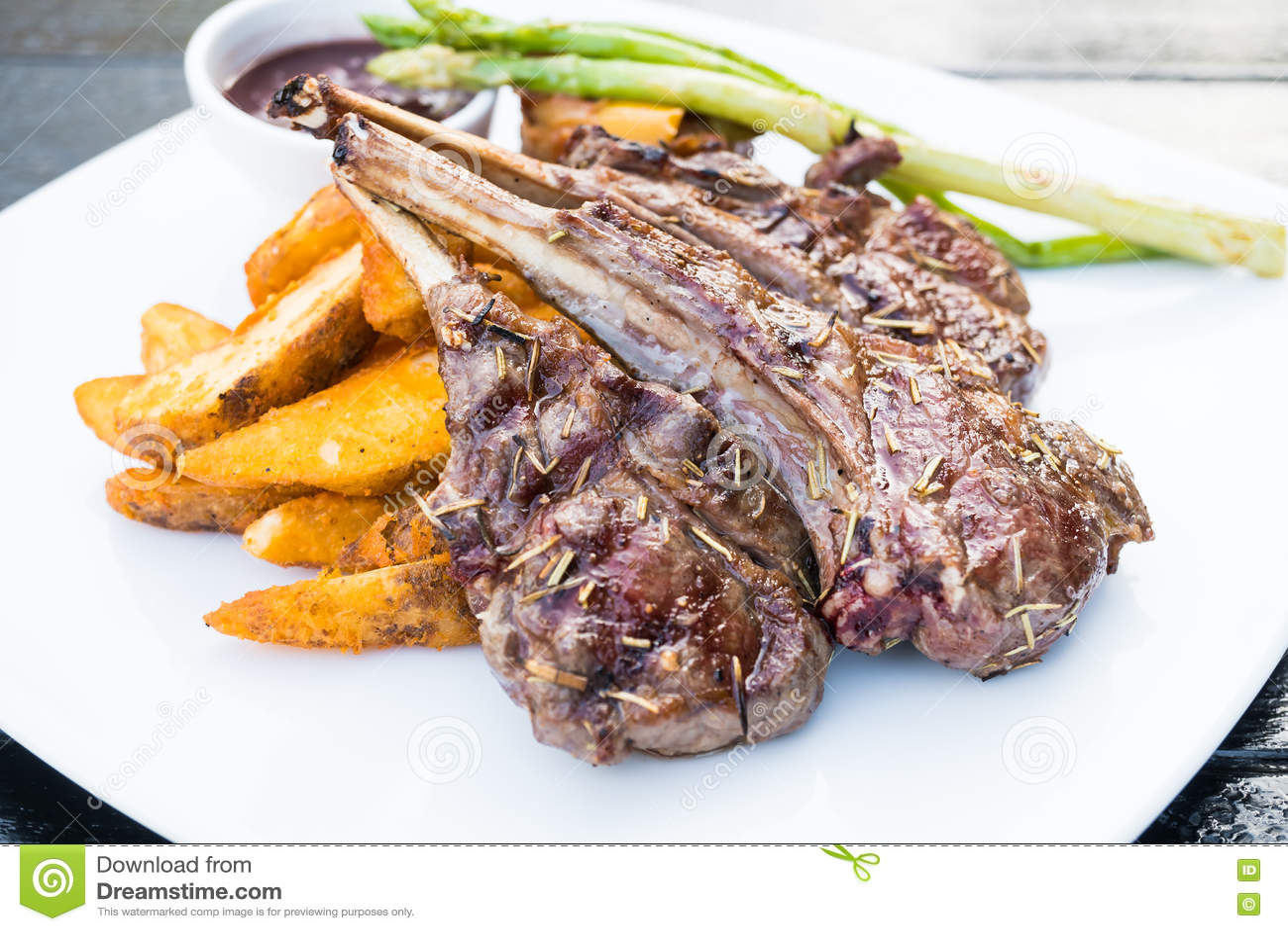 grilled lamb chop steak stock photo image 82378900