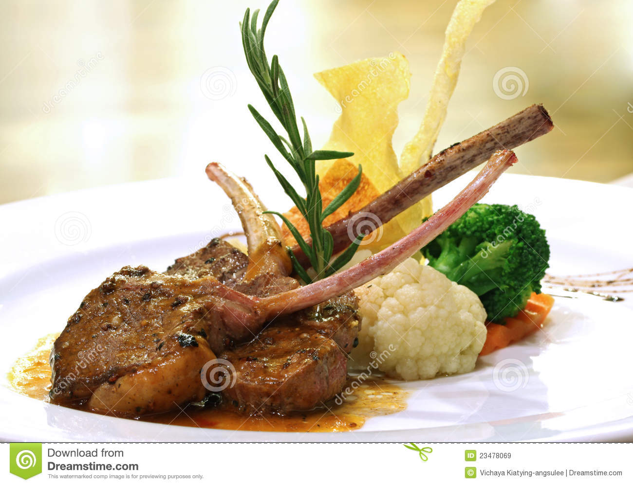Lamb Steak Covered With Red Marinade Stock Photo