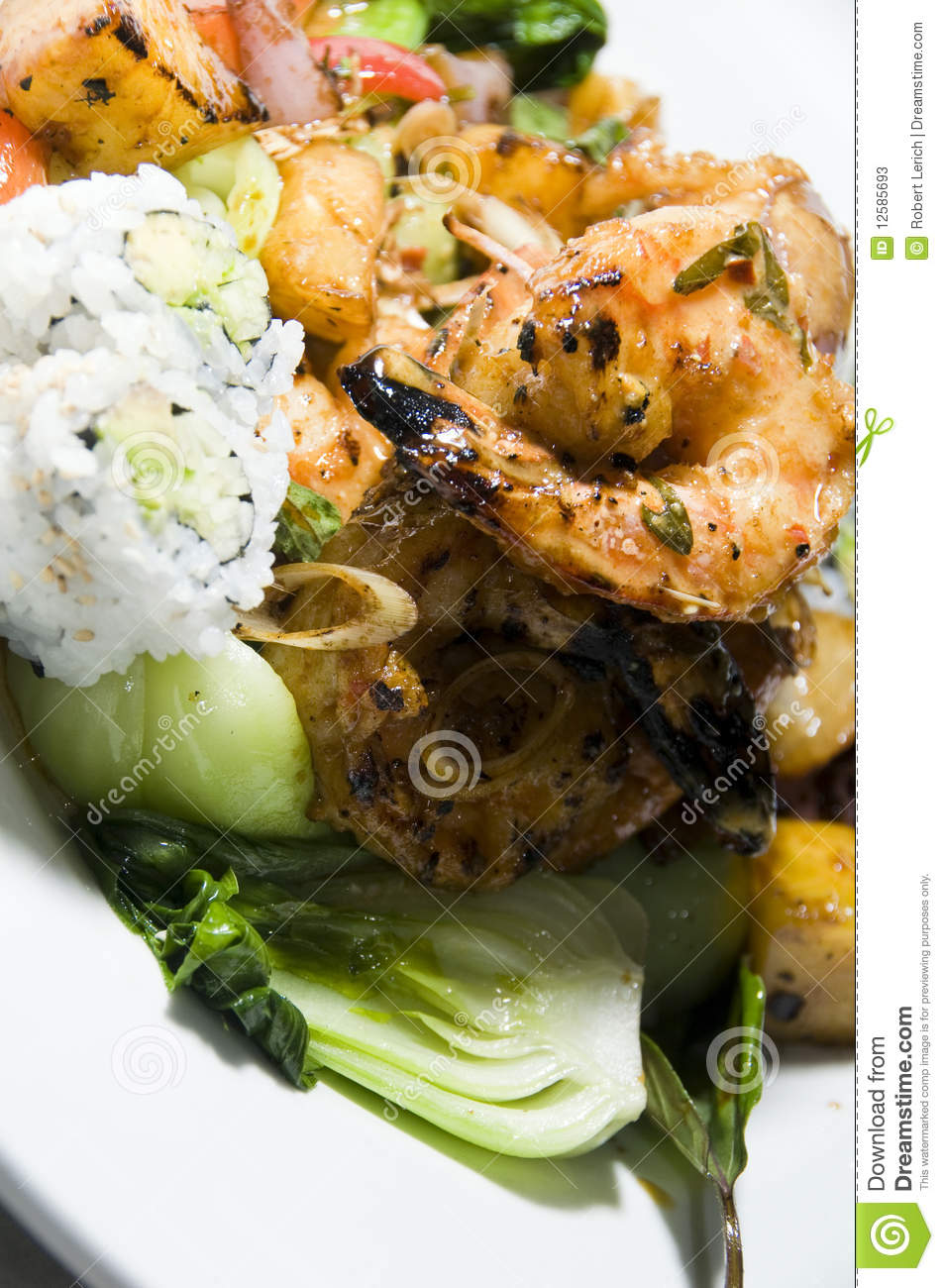 Pan asian fusion thai vietnamese food grilled lemon grass shrimp with ...