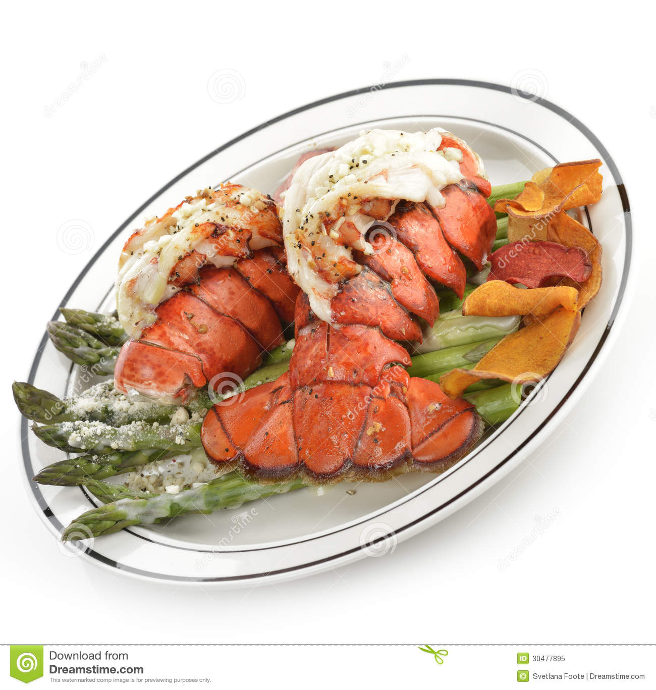 Grilled Lobster Tail Plate stock image. Image of gourmet ...