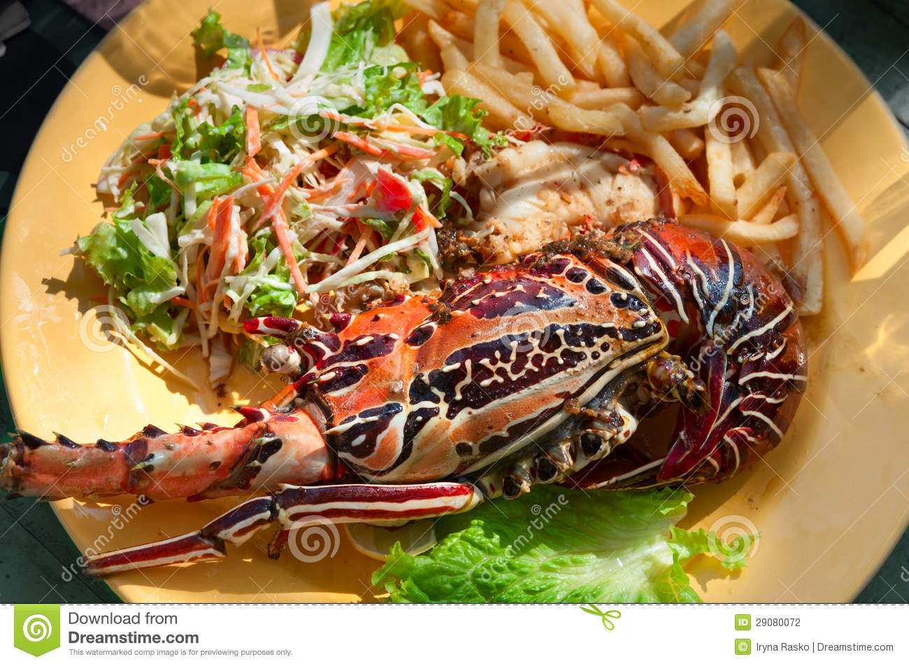Grilled Lobster On Yellow Plate Stock Photography - Image ...