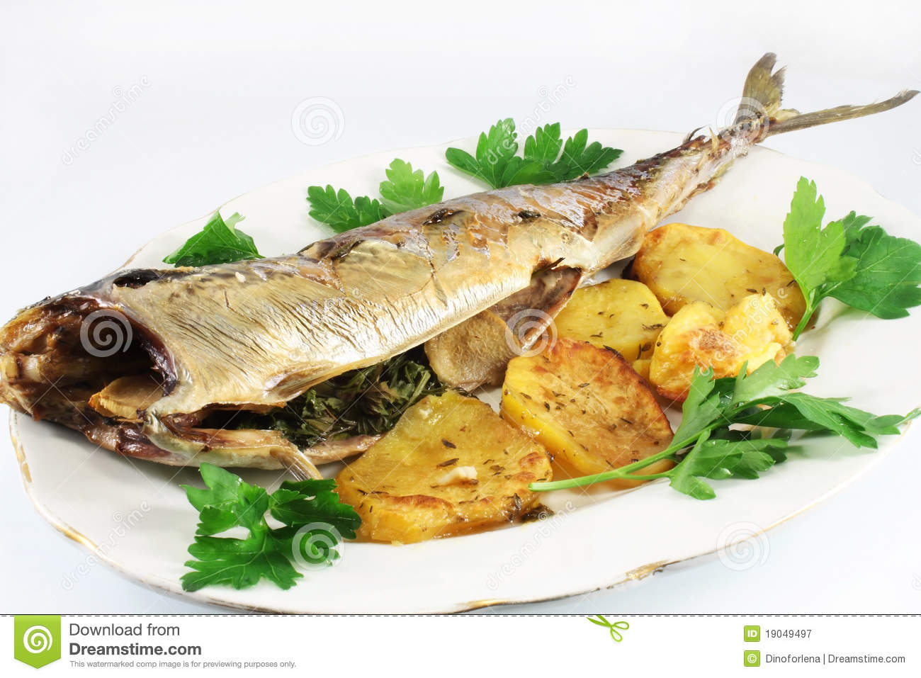 Dish with Grilled Mackerel and Potatoes.