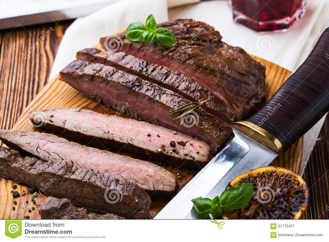 Grilled Marinated Flank Steak Stock Photo - Image: 61773437