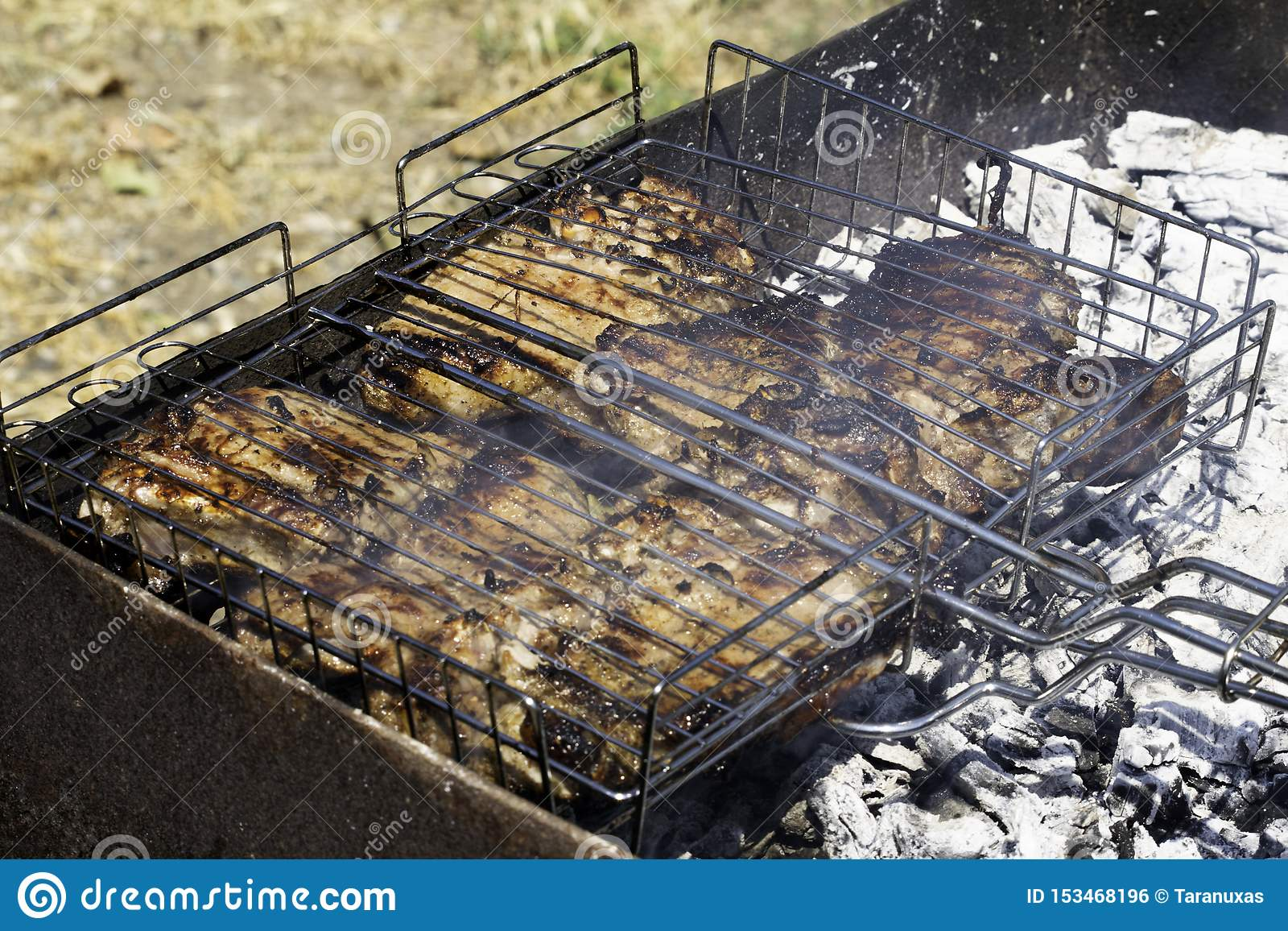 Grilled Meat On A Charcoal Grill Embers Smoke Ash Stock Photo Image Of Flavoring Barbecue 153468196