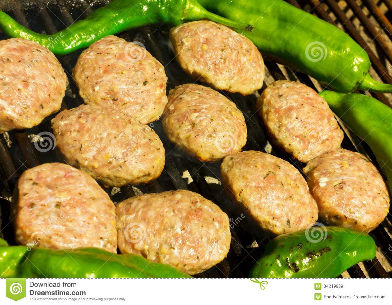 Grilled Meatballs And Peppers Royalty Free Stock Images - Image ...