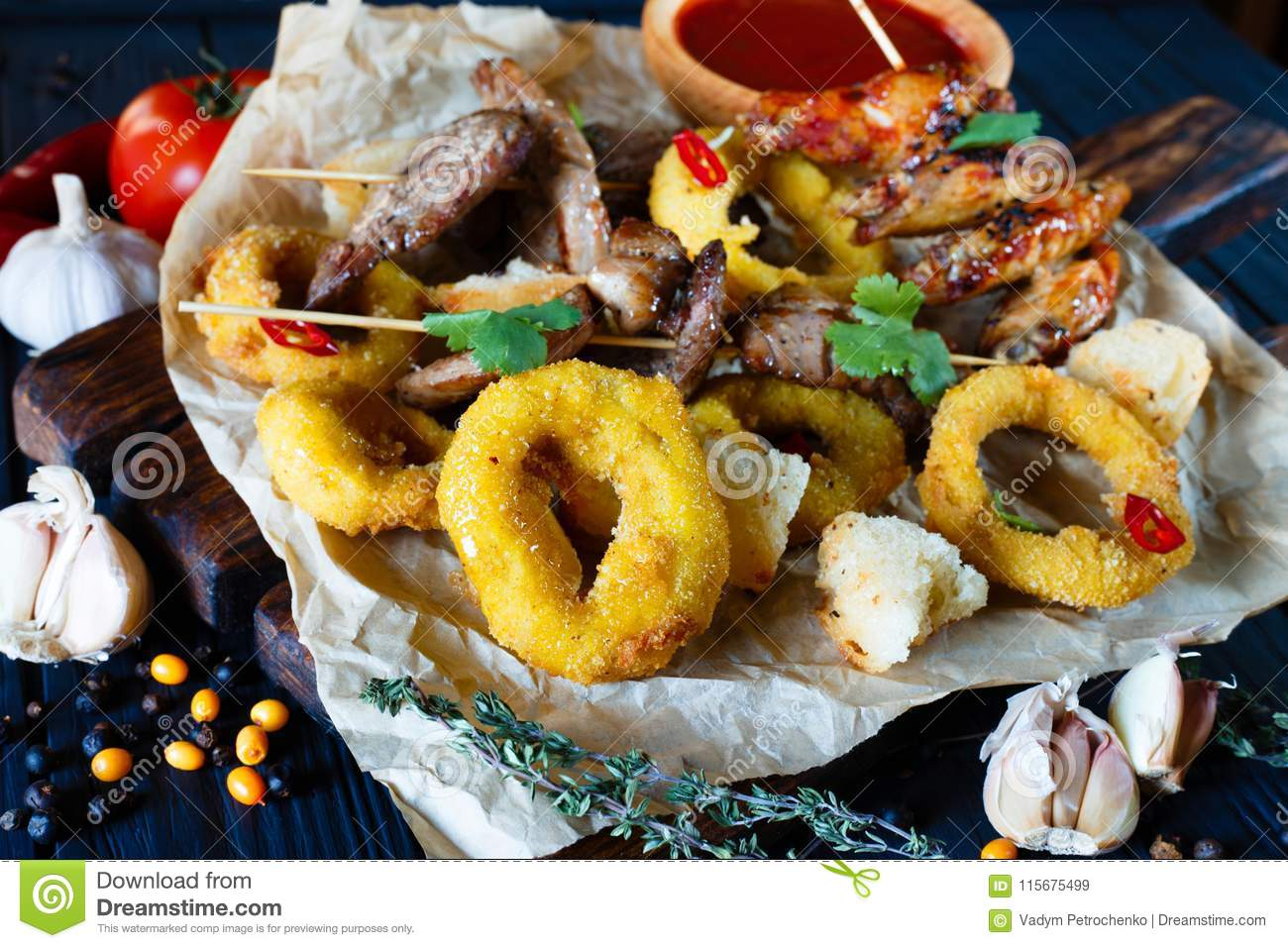 Grilled Meats Assortment, Onion Rings In Breadcrumbs, Rusks Deco ...