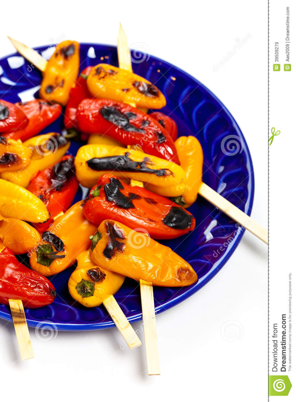 Download Grilled Mini Sweet Peppers stock image. Image of grilled - 39509279