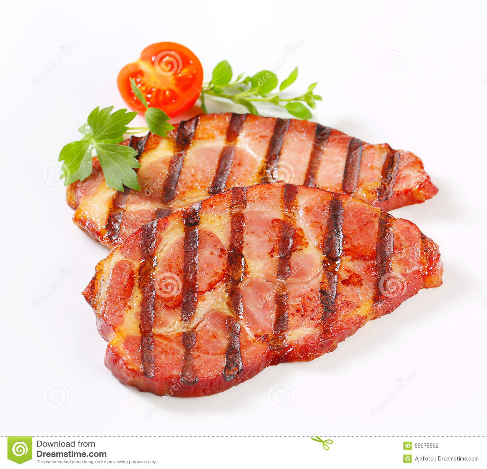 Grilled Pork Neck Steaks Stock Photo - Image: 55975592