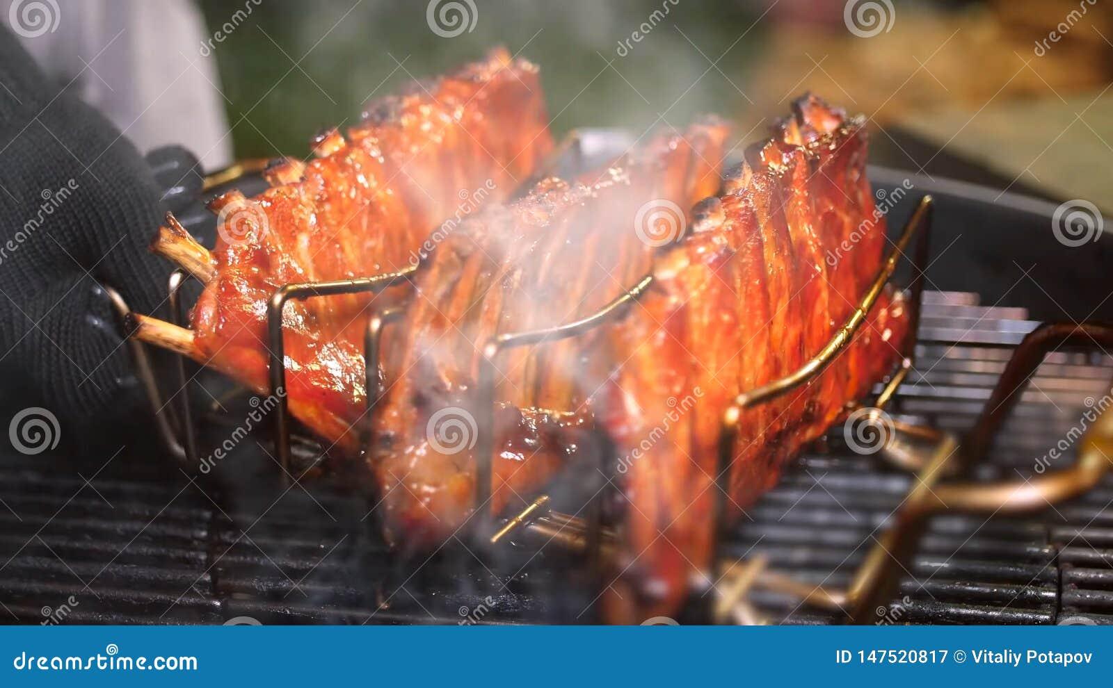 Grilled pork ribs. Meat, juicy.