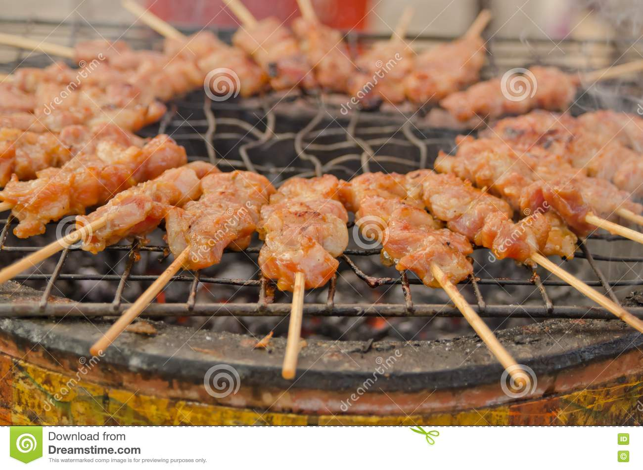 Grilled Pork At Thai Market Stock Photos - Image: 21478883