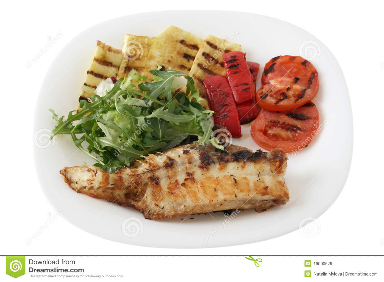 Grilled red fish with vegetables royalty free stock images for Fish with vegetables