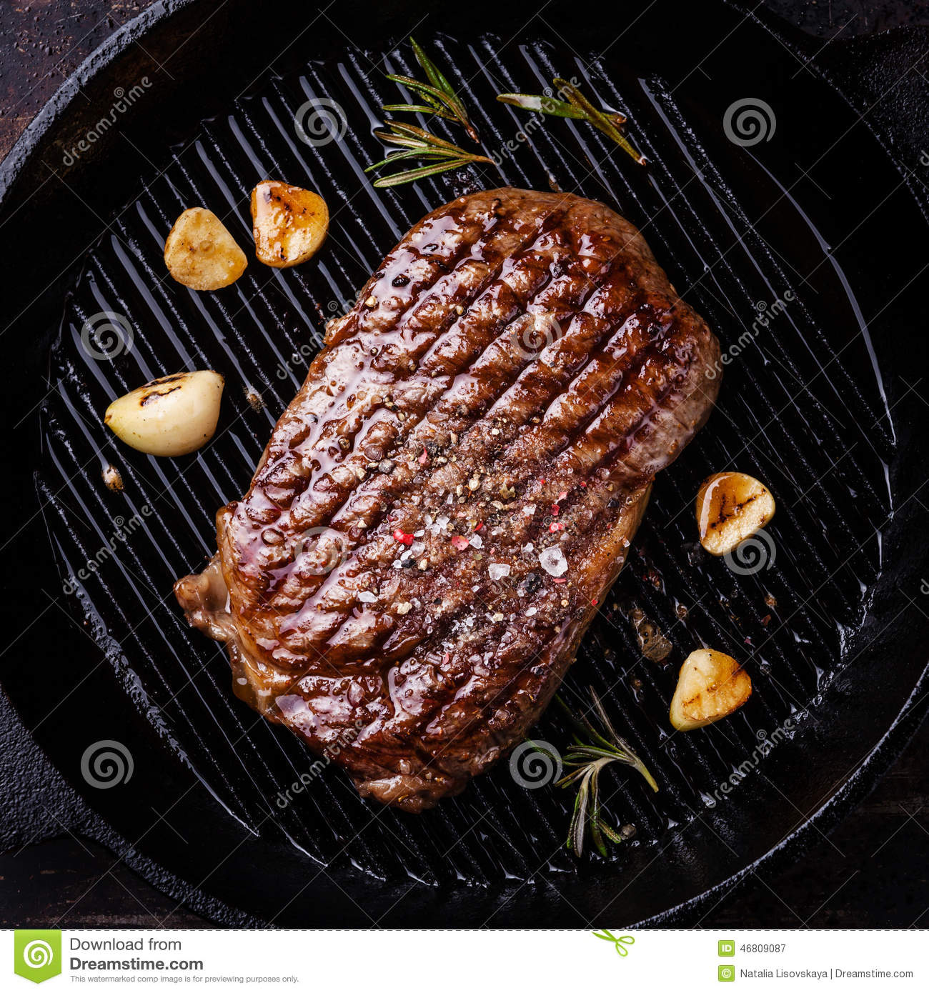 Grilled Ribeye Steak On Grill Pan Stock Image Image