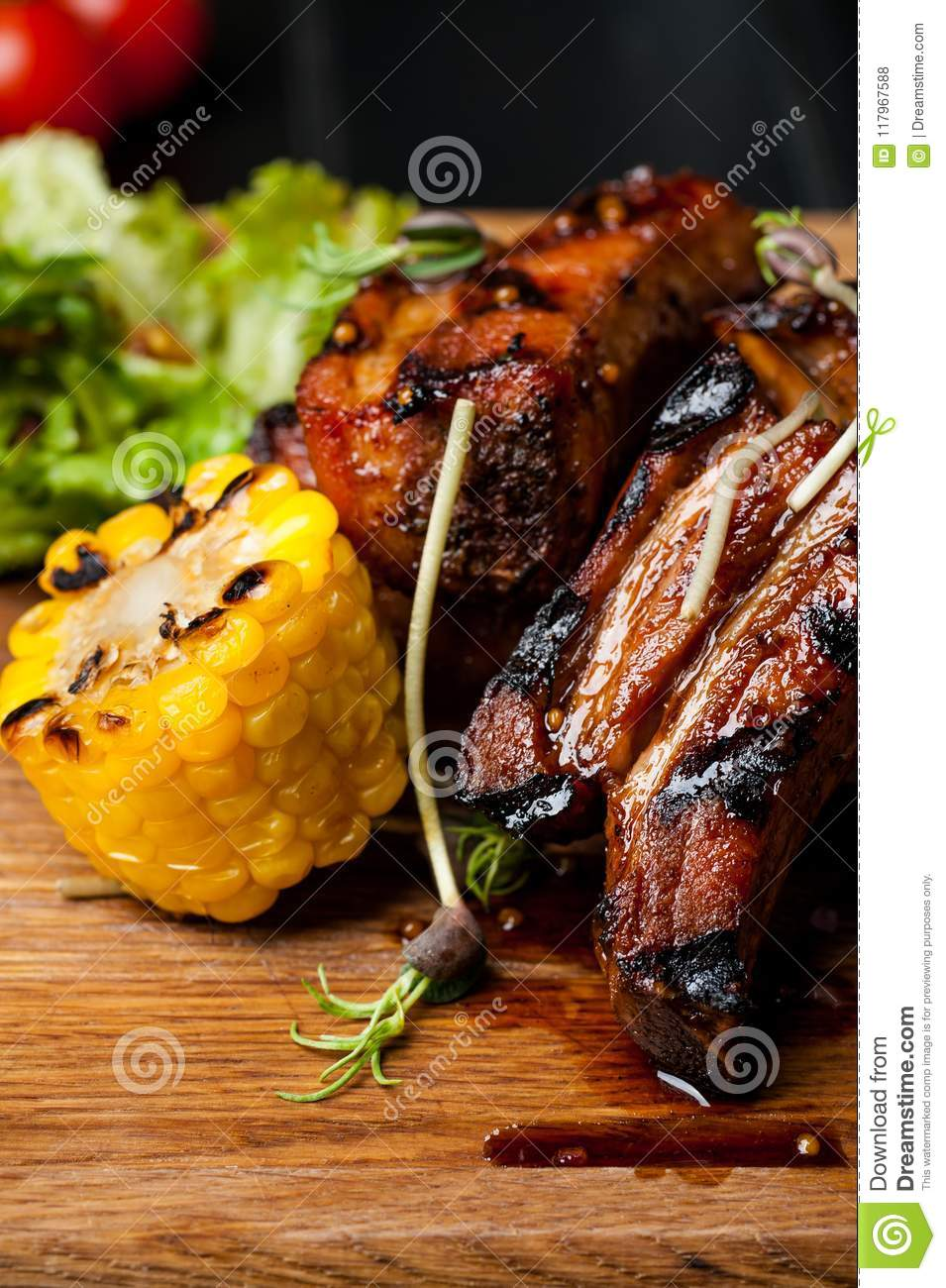 Barbecued Ribs with Rosemary Corn