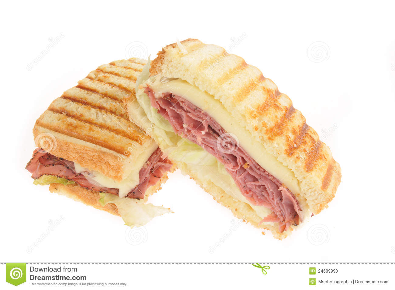 Grilled Roast Beef And Cheese Panini Or Sandwich Stock Photo - Image ...