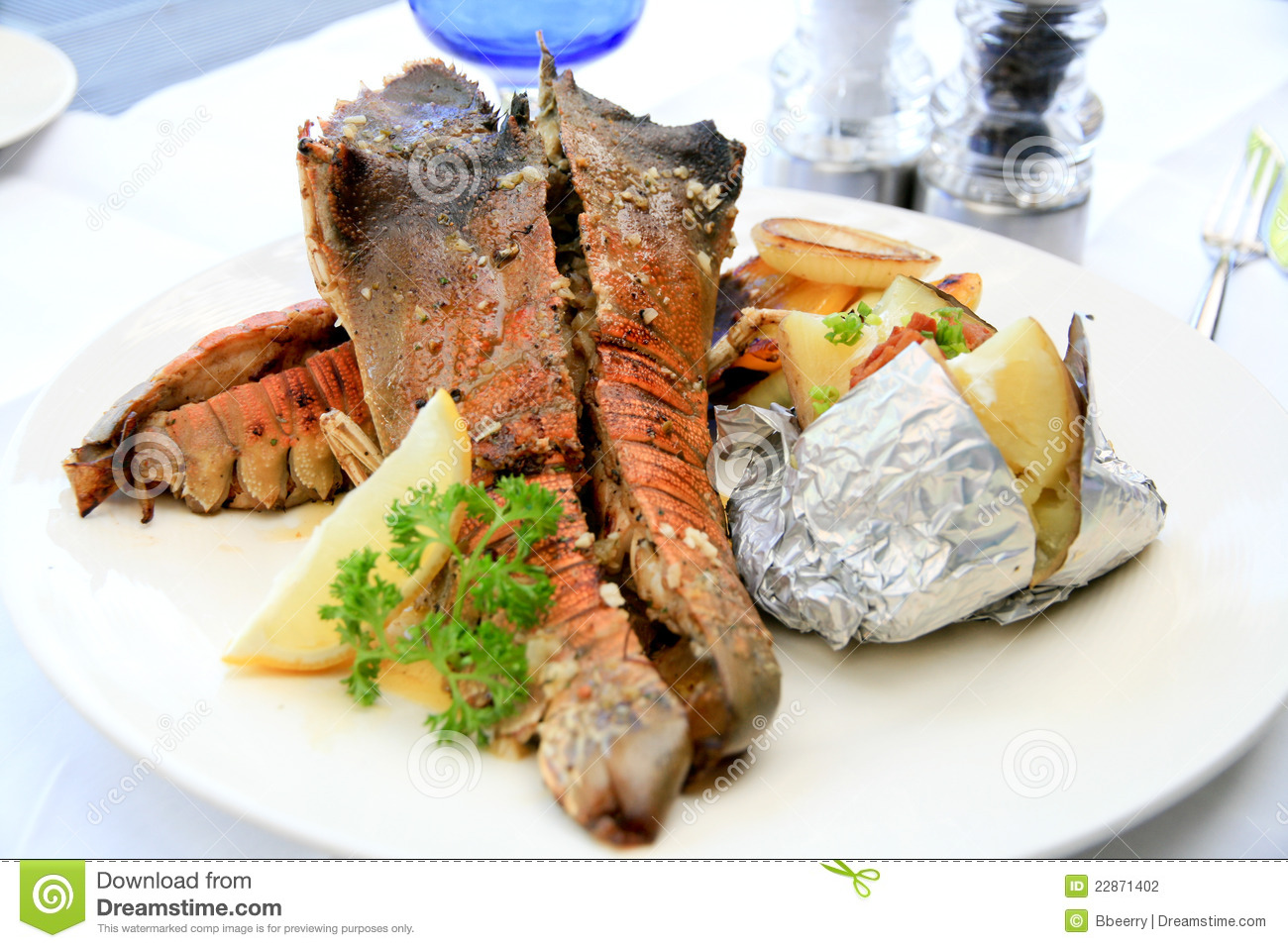 Grilled Lobster On Yellow Plate Royalty-Free Stock Image ...