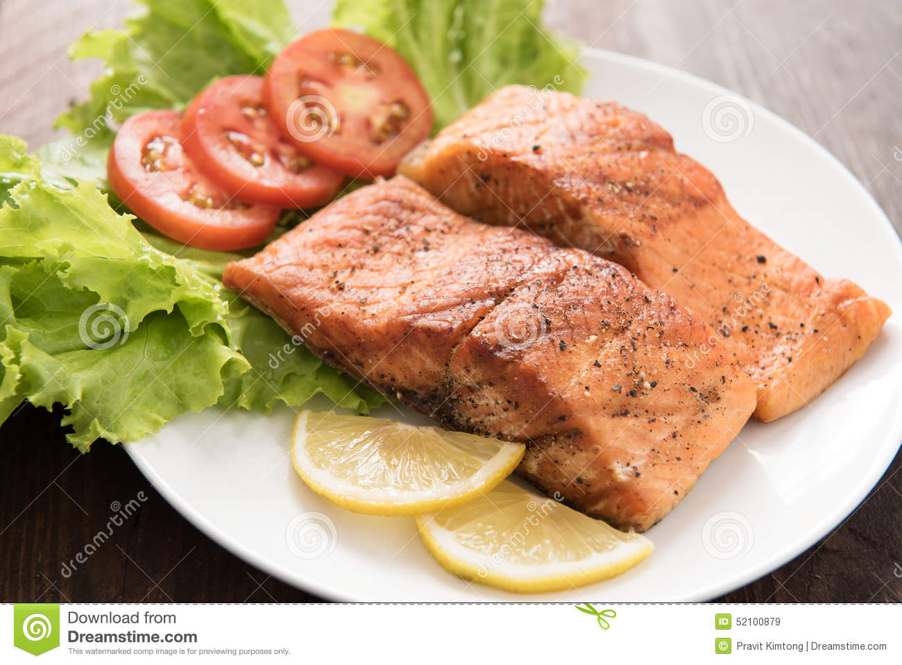 Cooked Fillet Grilled Lemon Salmon