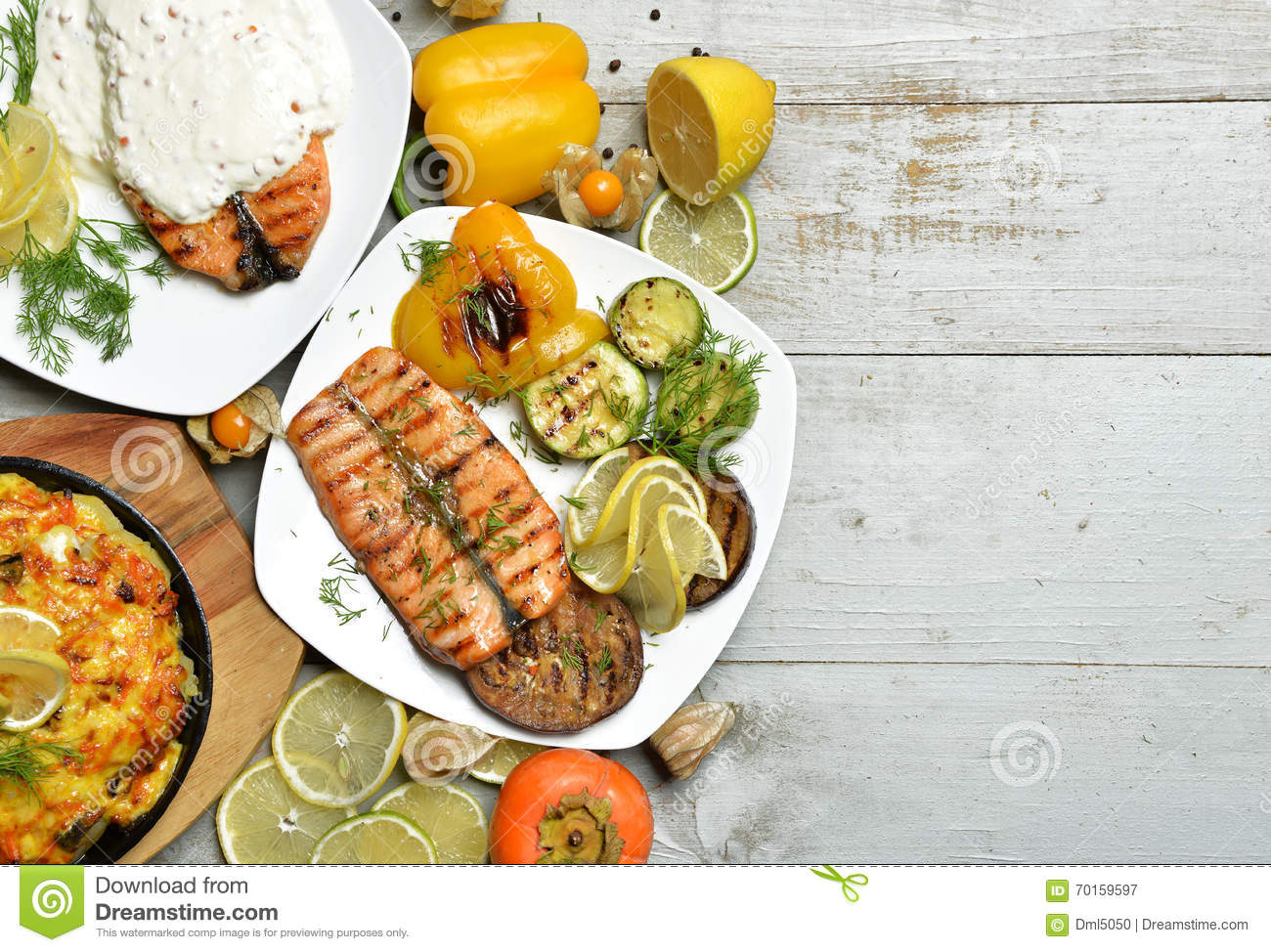 Grilled Salmon Fish Steak Fillet With BBQ Vegetables Meat ...