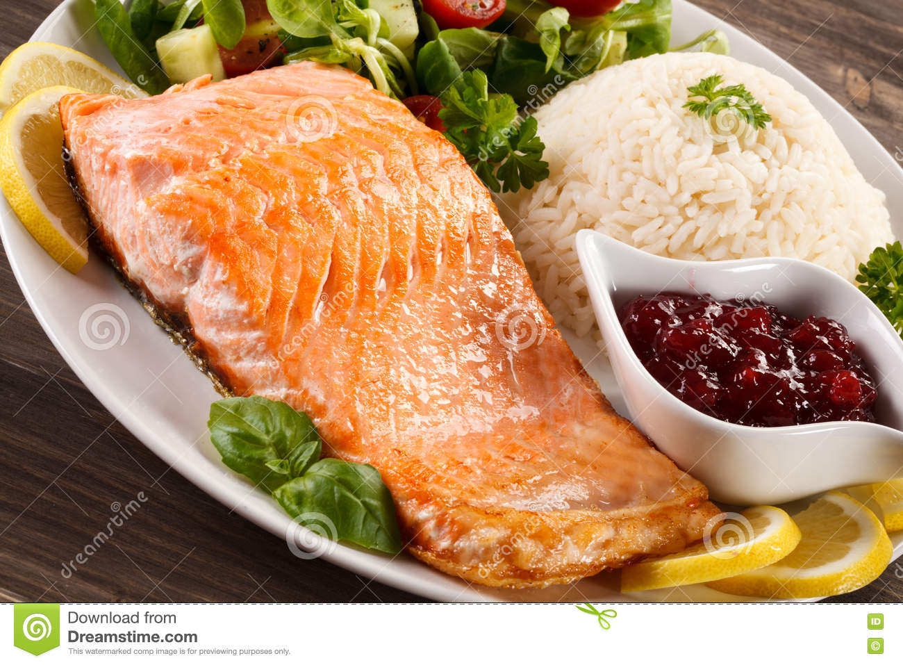 Grilled salmon rice and vegetables stock photo image for Rice dishes with fish