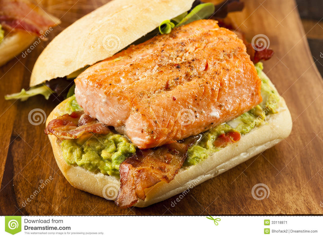 Grilled Salmon Sandwich With Bacon And Guacamole Stock Image - Image ...
