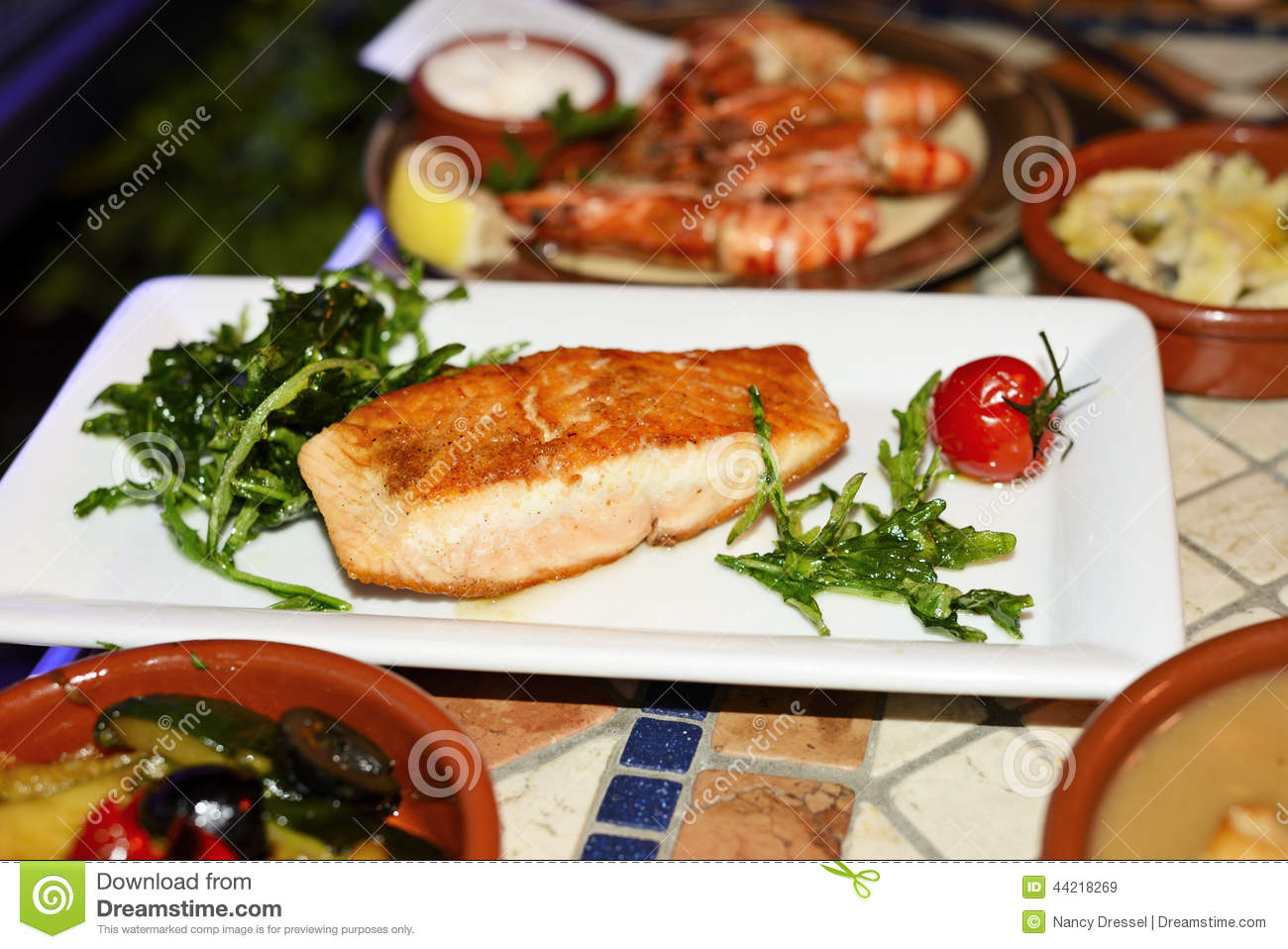 Grilled Salmon In Spanish Restaurant Stock Image Image Of
