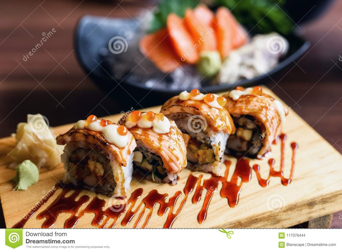 Grilled Salmon Sushi Nigiri Rolls Stock Photo Image Of California Delicious 117076444