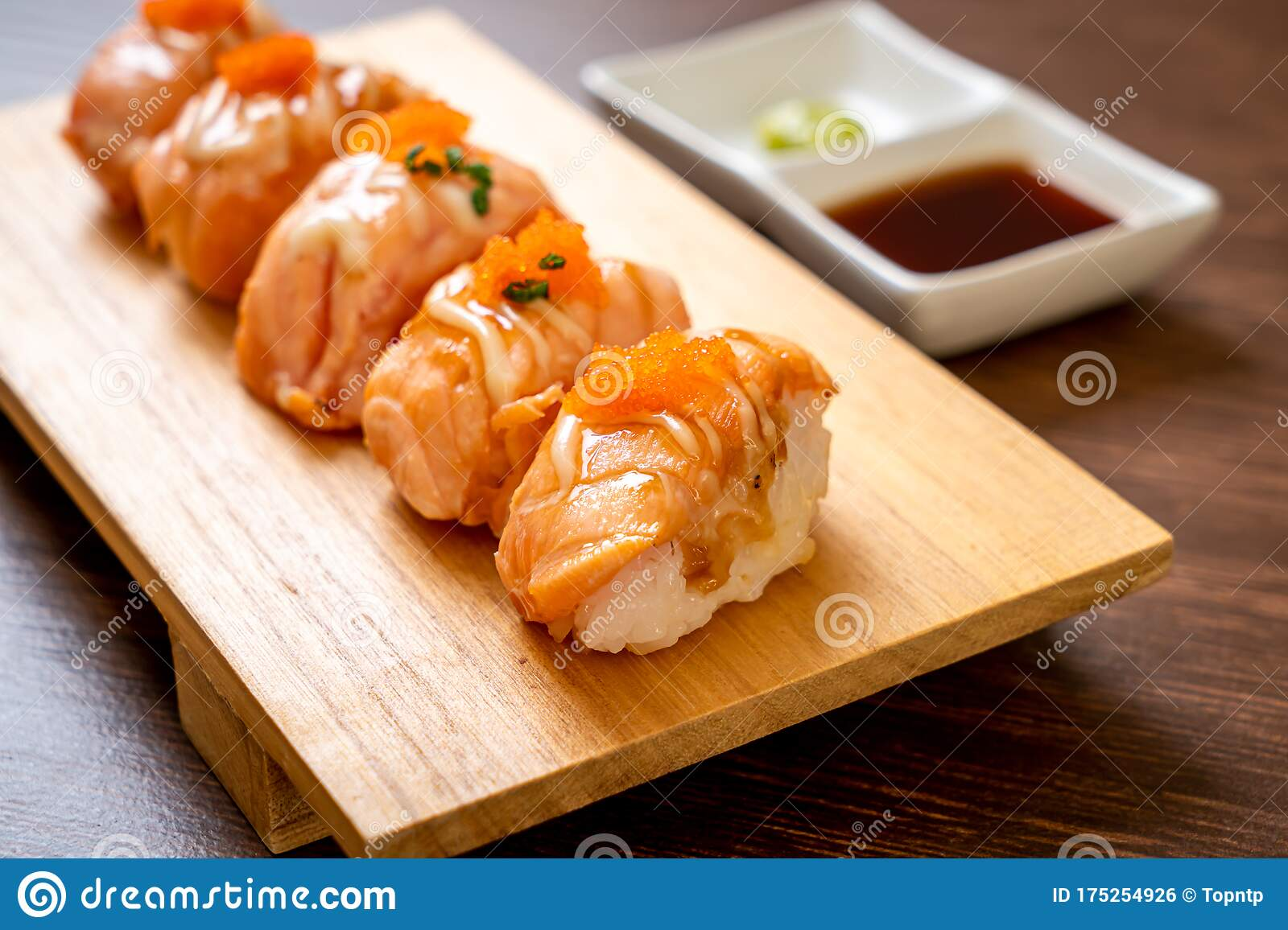 Grilled Salmon Sushi On Plate Stock Photo Image Of Menu Dinner 175254926