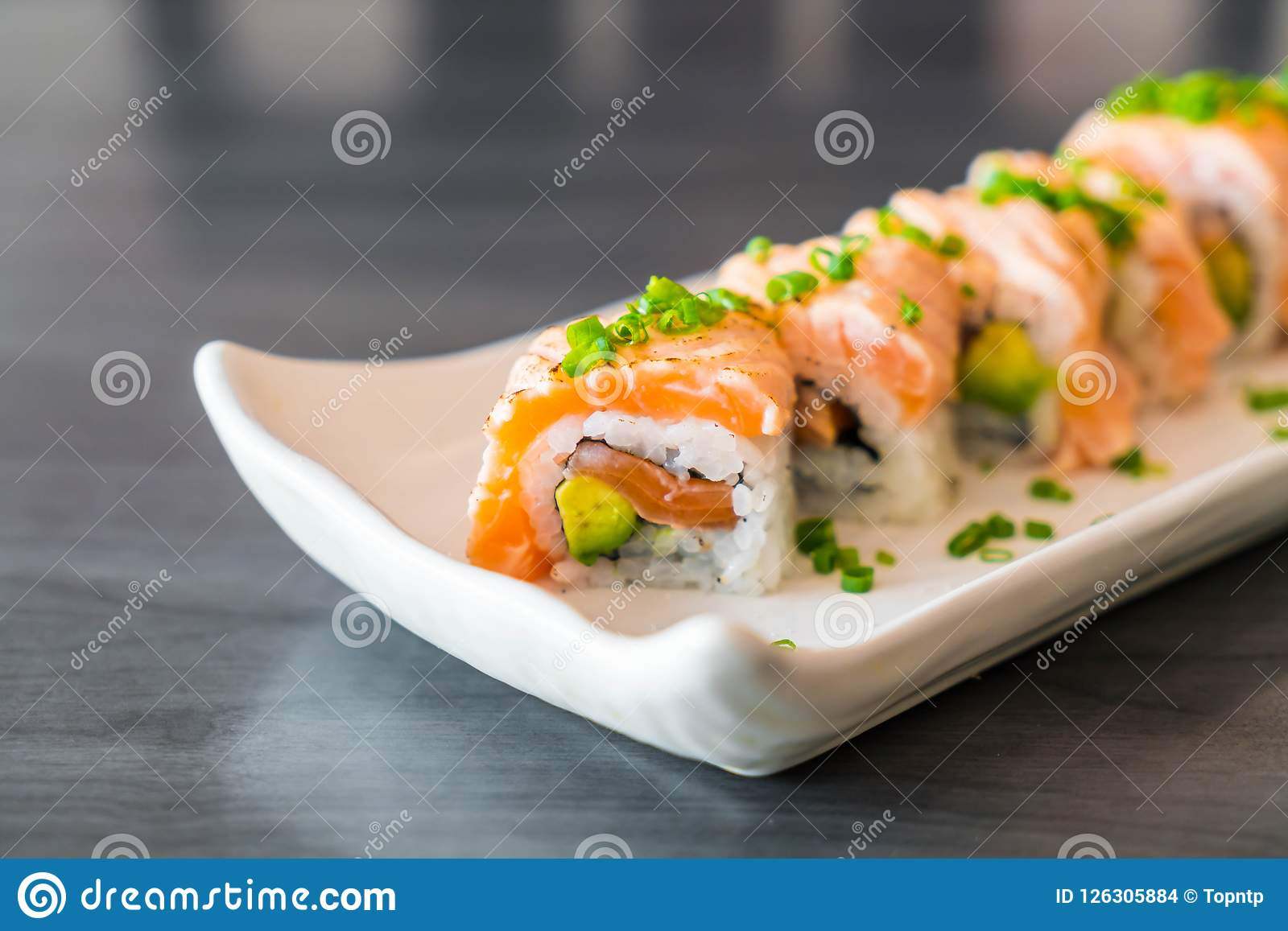 Grilled Salmon Sushi Roll Stock Photo Image Of Cuisine 126305884