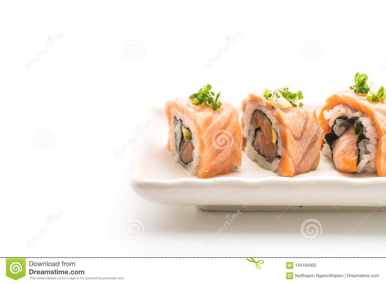 Grilled Salmon Sushi Roll Japanese Food Style Stock Photo 104164902 Megapixl