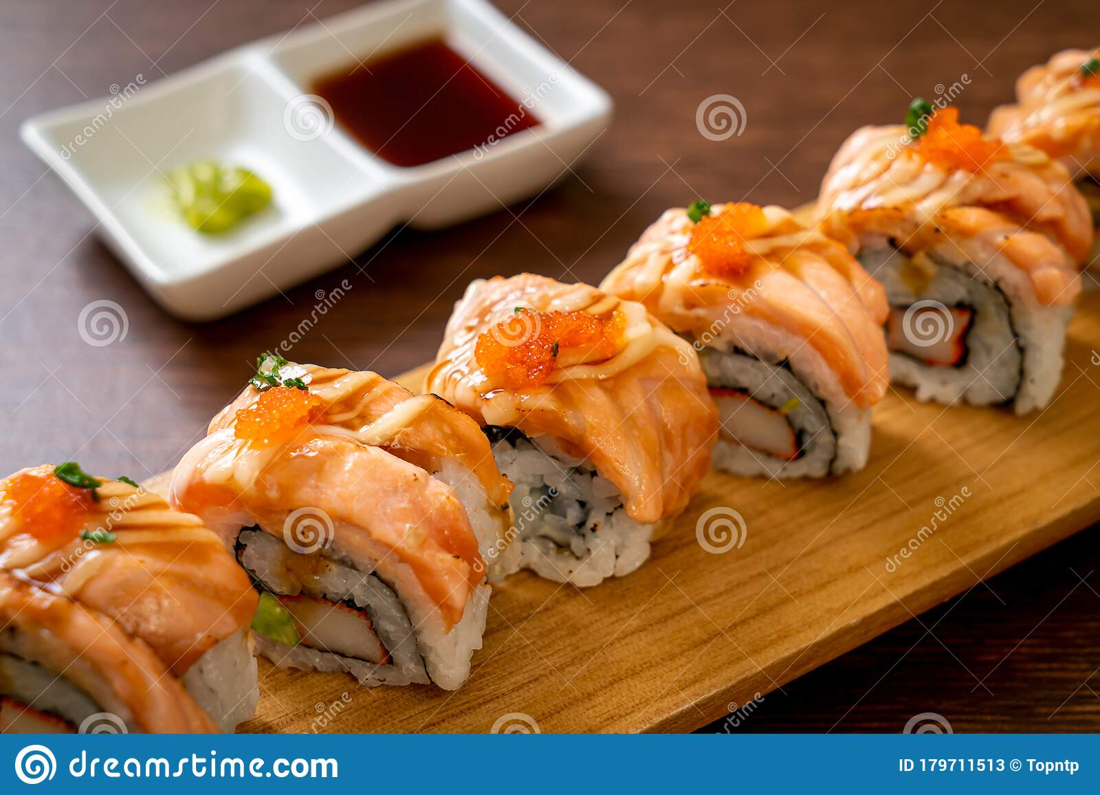 Grilled Salmon Sushi Roll With Sauce Stock Image Image Of Health Orange 179711513