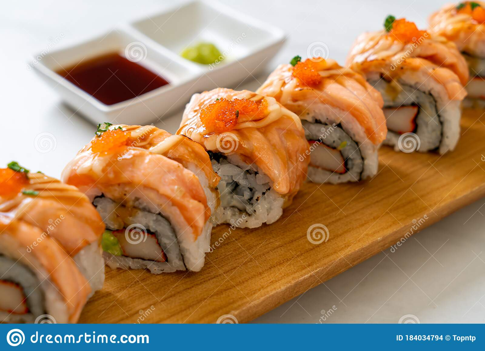 Grilled Salmon Sushi Roll With Sauce Stock Photo Image Of Roll Dinner 184034794