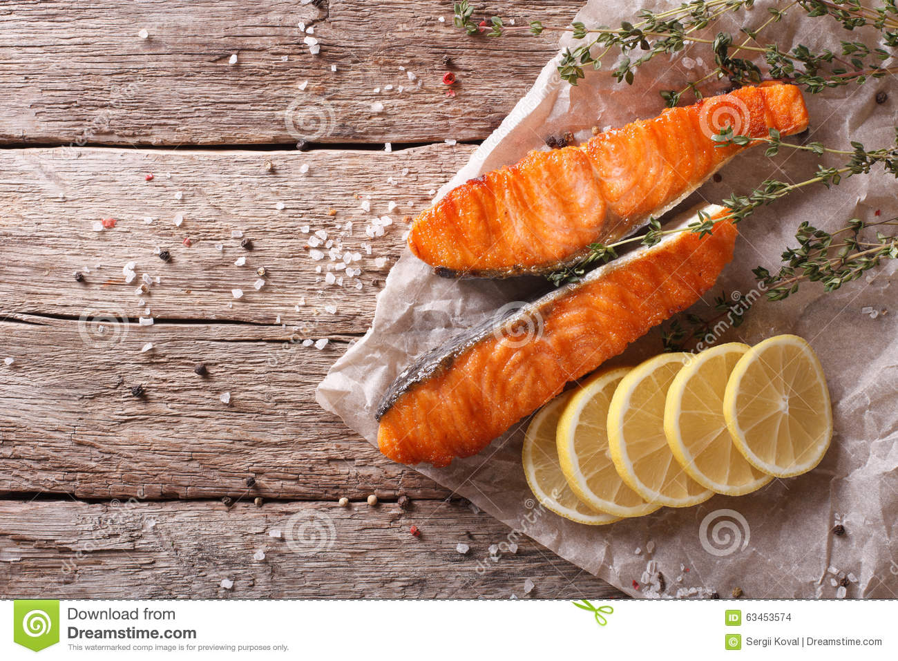 Grilled Salmon With Thyme And Lemon On The Table. Horizontal Top Stock ...