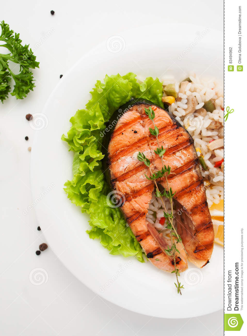 Grilled Salmon On Vegetable Risotto Free Space Stock Photo Image