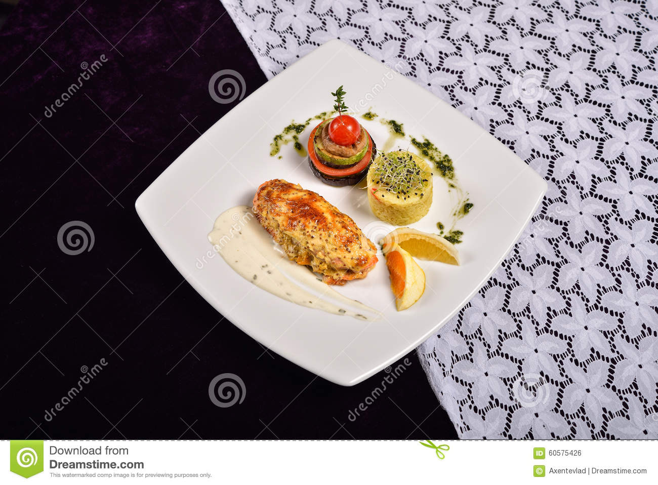 Grilled Salmon And Vegetables Menu From A Restaurant Stock Photo