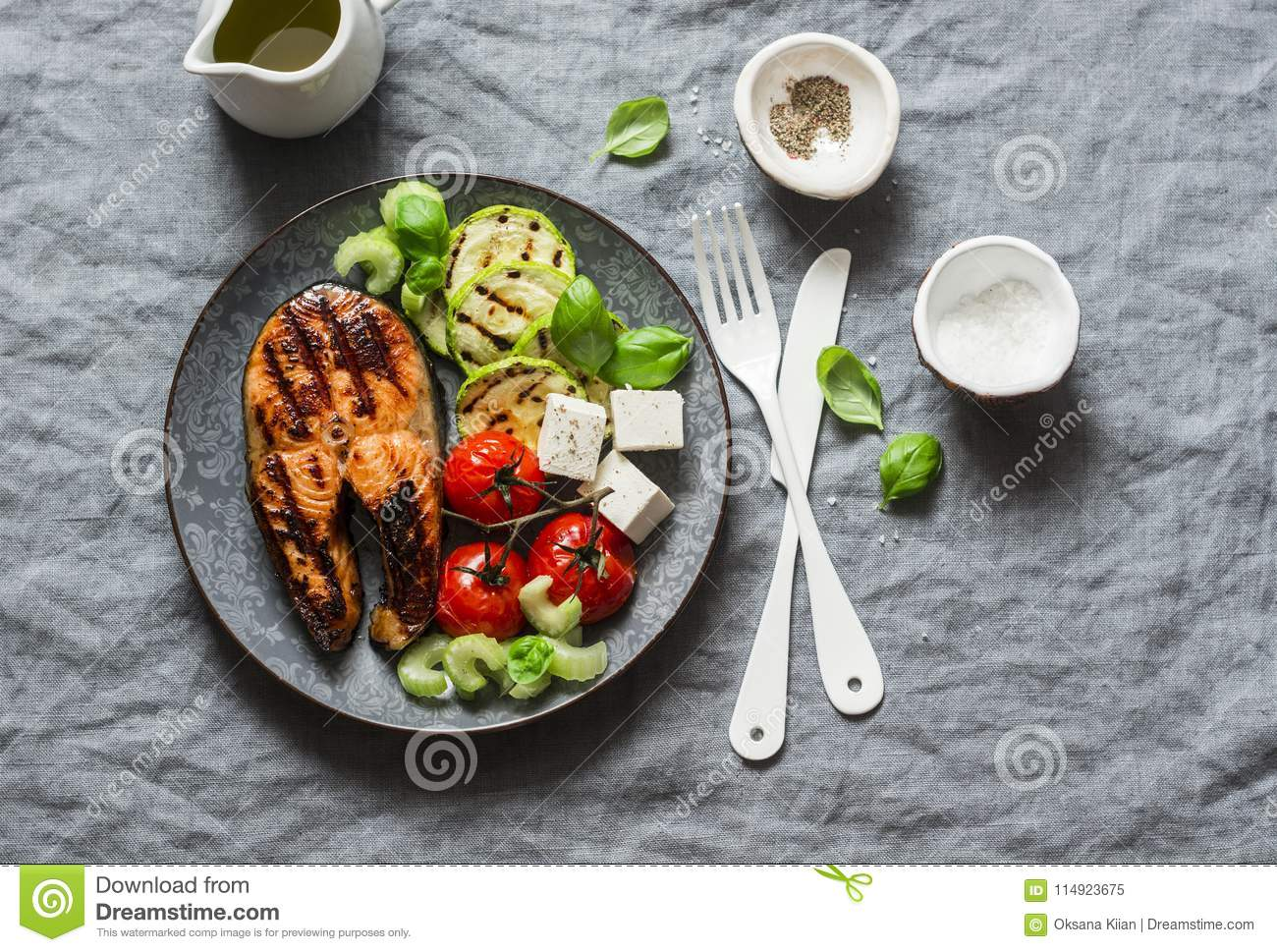 Grilled Salmon Zucchini Baked Cherry Tomatoes And Silky Tofu Healthy Balanced Meal On Grey Background Stock Image Image Of Fish Flat 114923675