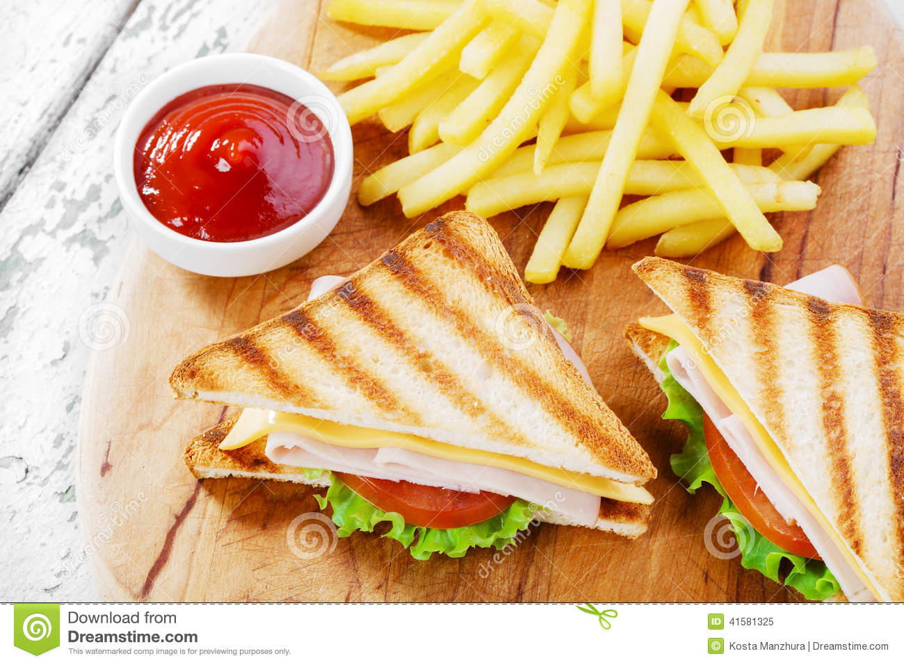 Grilled Sandwich With Ham Cheese Stock Image Image Of Green Fast 41581325