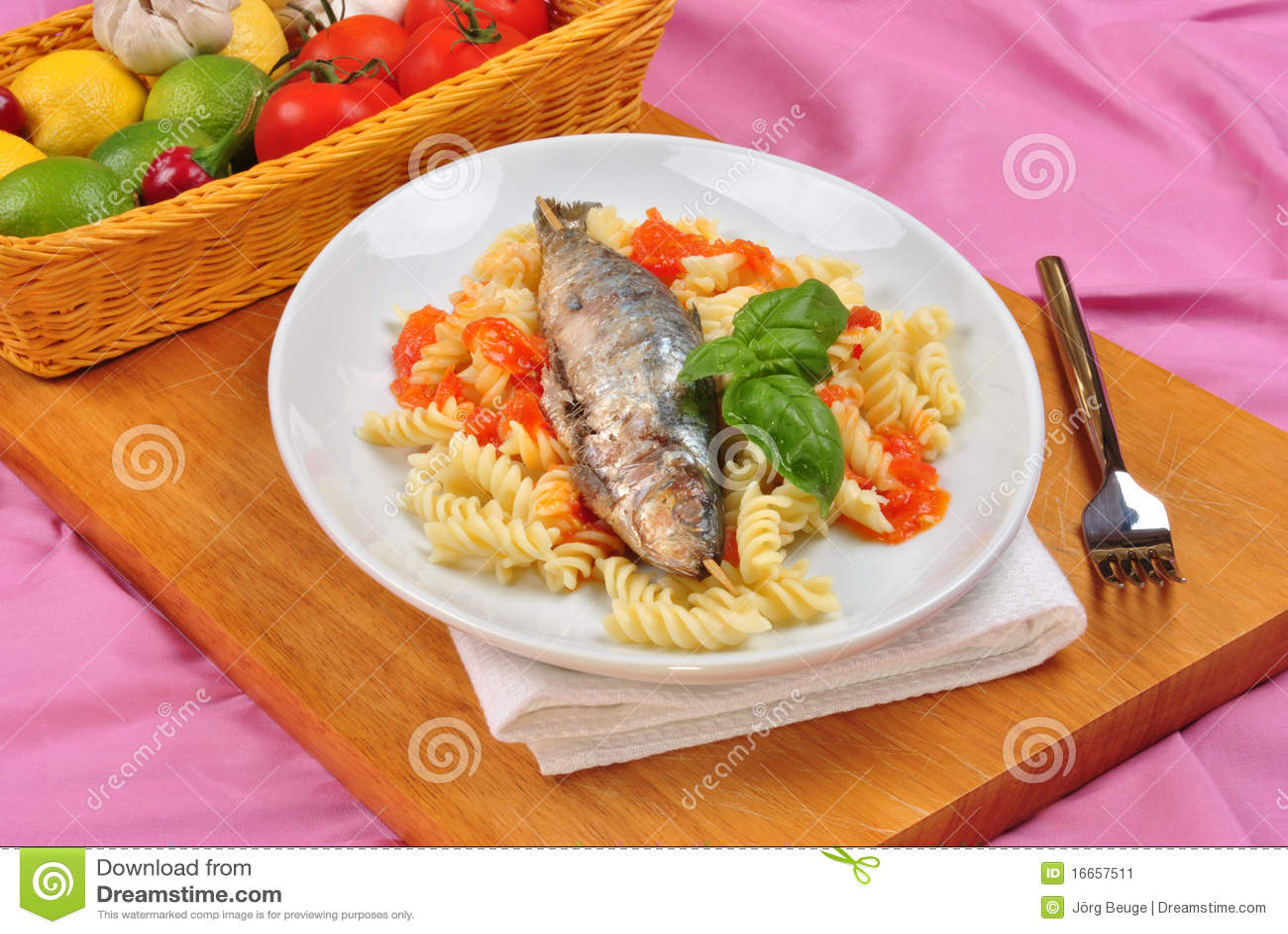 Grilled Sardine On Some Tomato Pasta Stock Image - Image: 16657511