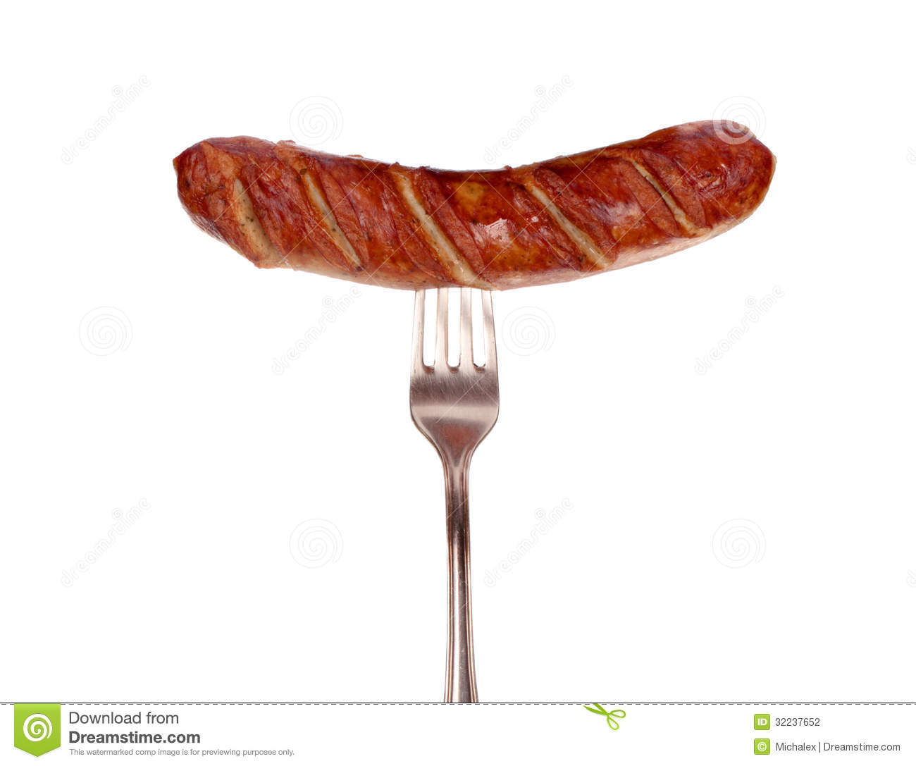 Hot Dog Sausage On Fork