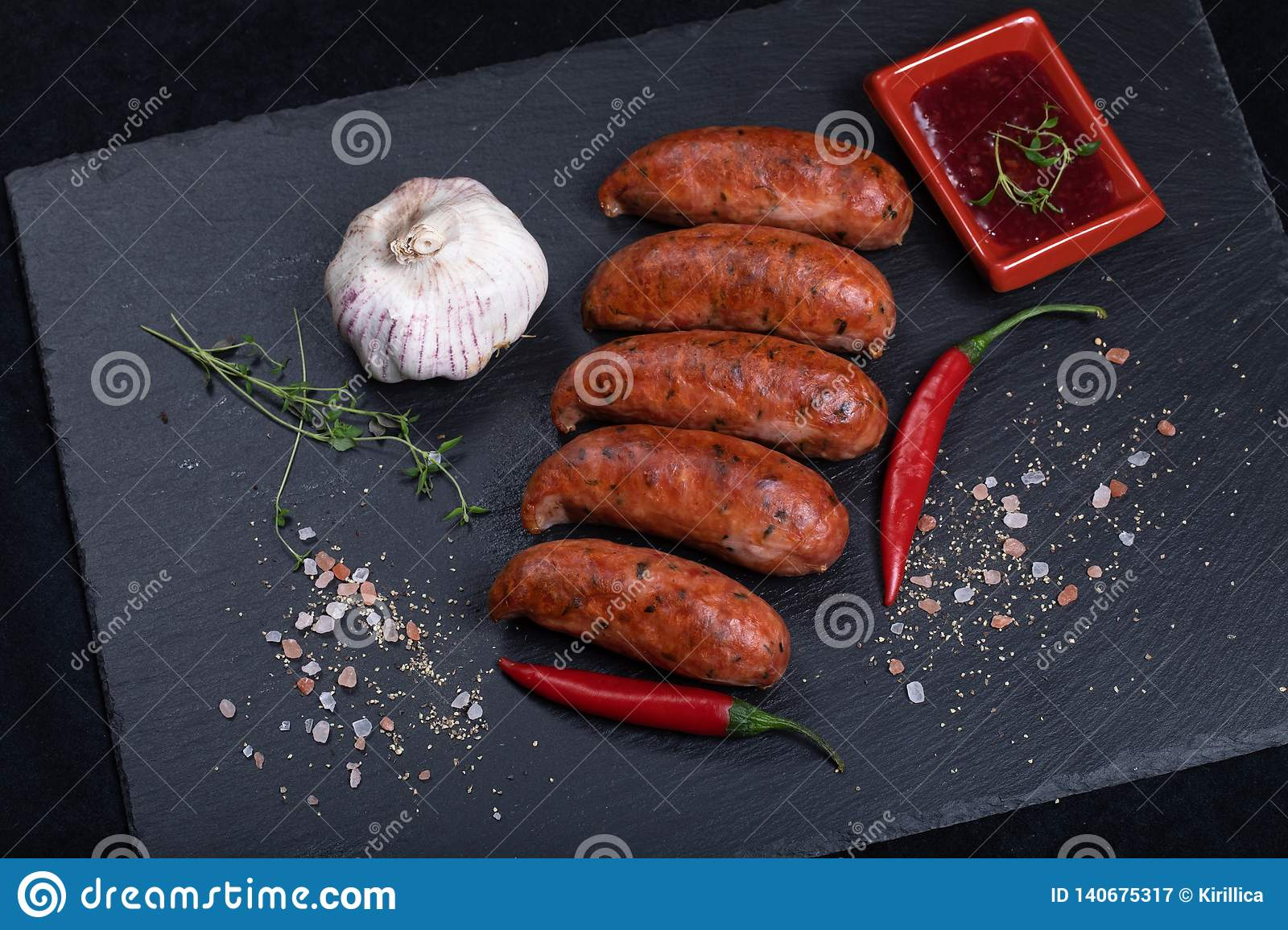 Grilled sausages with chilli peppers