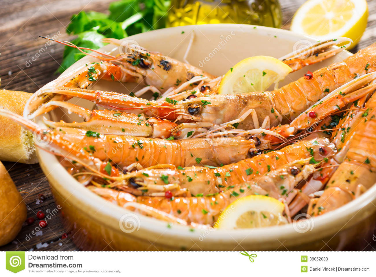 Grilled Scampi Stock Photos - Image: 38052083