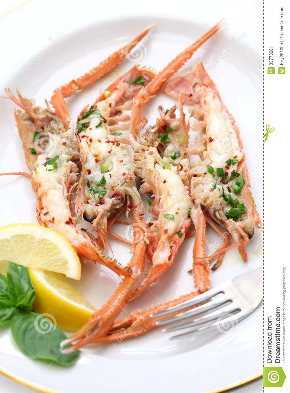 Grilled Scampi Stock Image - Image: 33775261